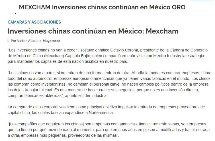 Inversiones chinas continúan en México: Mexcham Querétaro